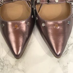 Topshop Shoes - Topshop Pointed Toe Studded Metallic Pink Flats